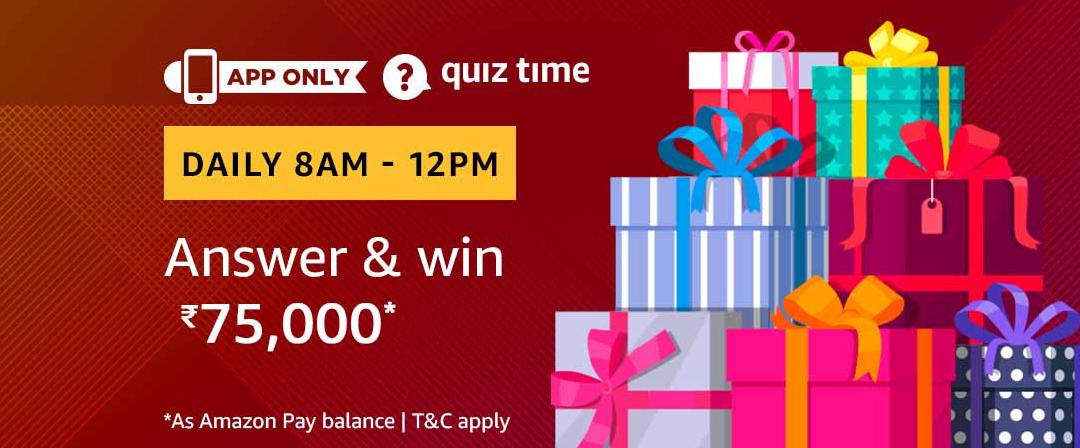 Amazon Today Quiz Contest 25 Feb: Win Rs 75000 Amazon Pay Balance