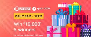 Amazon Quiz 1 March 2019 Answers – Win 10000 Amazon Pay Balance