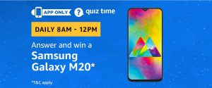 Amazon Quiz 24 February 2019 Answers – Win Samsung Galaxy M20 Mobile