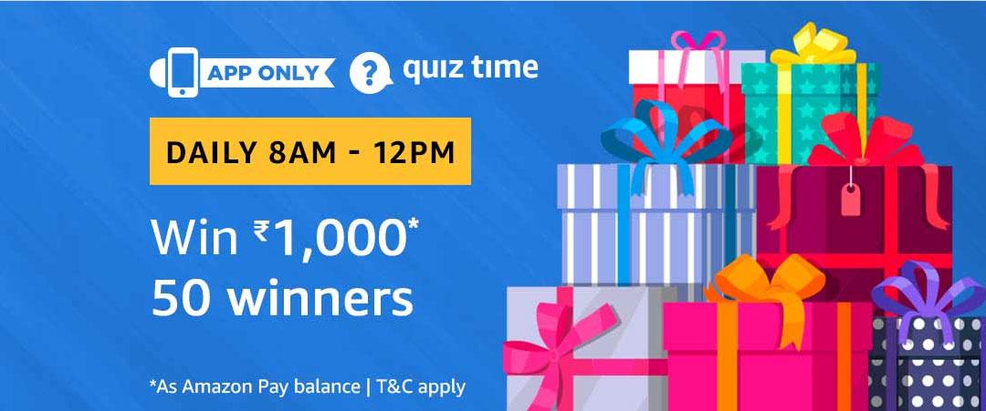 Amazon Quiz 22nd February Answers – 50 Winners can win Rs.1000/- each