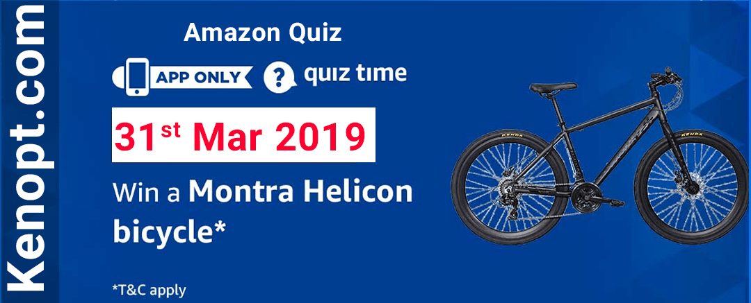 Amazon Quiz 31 March 2019 Answers – Win a Montra Helicon Bicycle Today