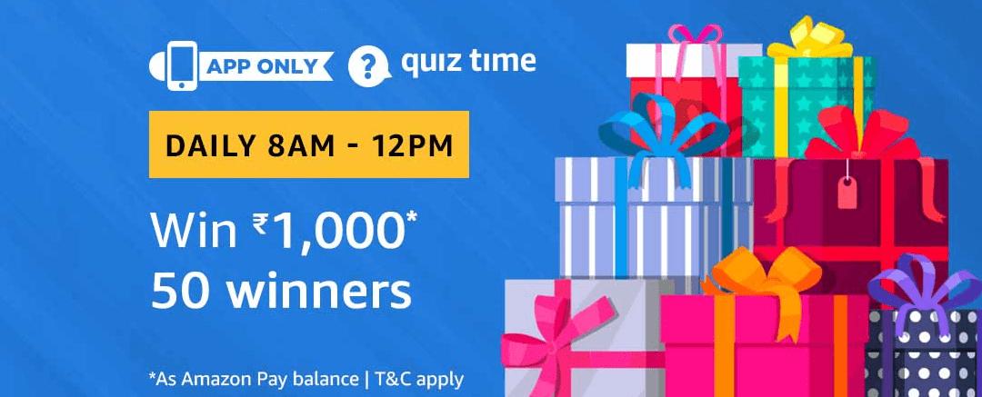 Amazon Quiz 8 March 2019 Answers – Win Rs.1000 amazon pay balance