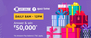 Amazon Quiz 4 March 2019 Answers – Win Rs 50000 Pay Balance