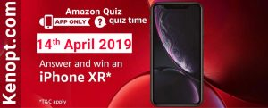 Amazon Quiz Answers 14 April 2019  – win an iPhone XR Today