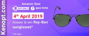 Amazon Quiz 4 April 2019 Answers – Win Ray-Ban Sunglasses Today
